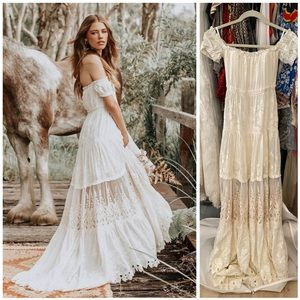SPELL Amelie Silk Slip Dress Formal Wedding Gown